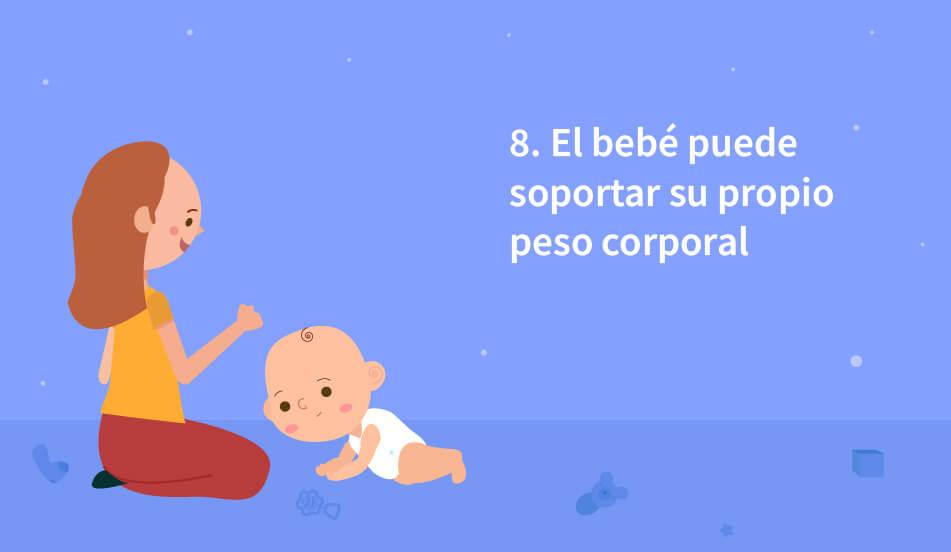 el bebe sostiene y soporta su propio peso