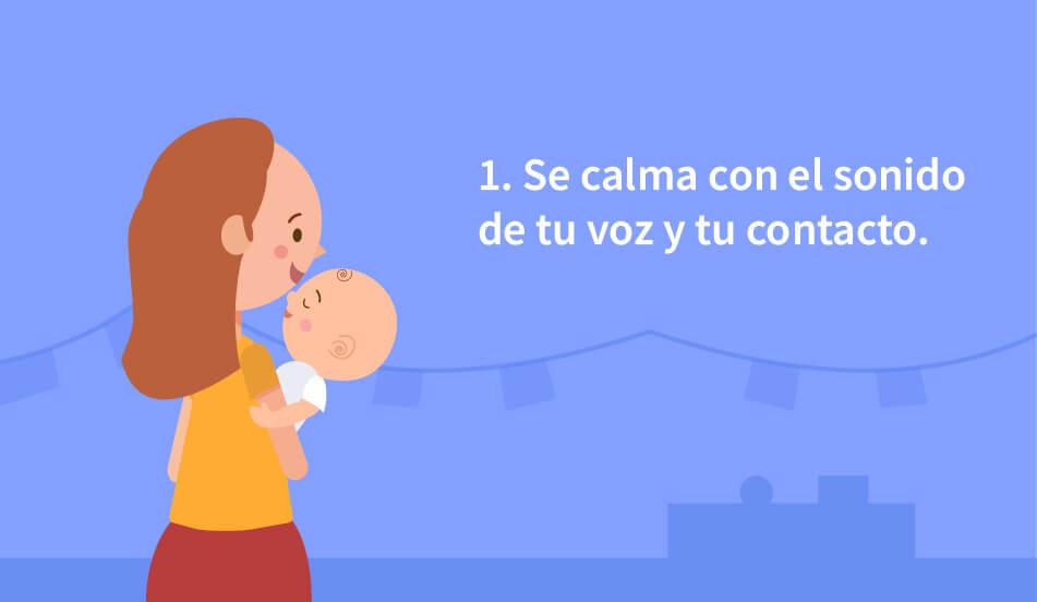 calmar a tu bebe con el sonido de tu voz y contacto