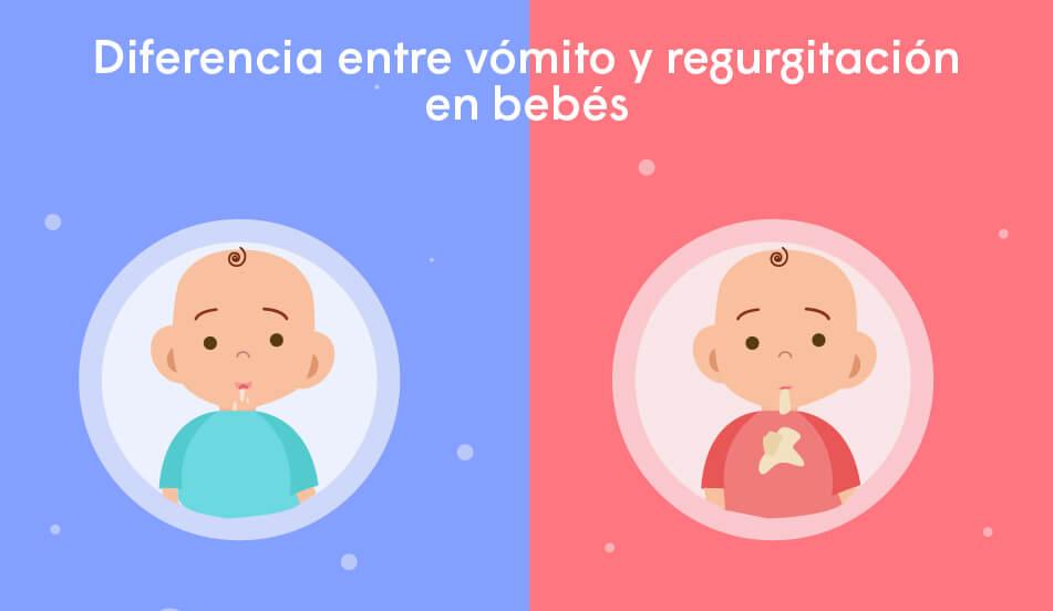 diferencia entre regurgitacion y vomito del bebe